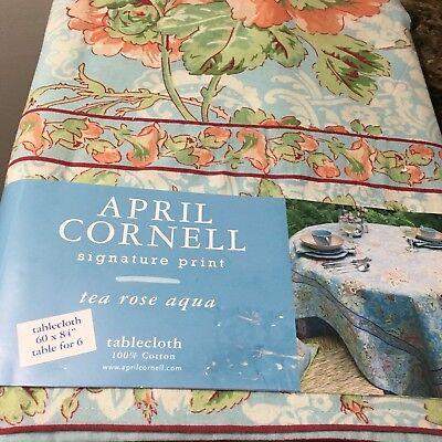 April Cornell 60 x 84 Tablecloth Summer FLORAL TEA ROSE AQUA - New - Free Ship