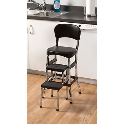 Kitchen Step Stools - Black Retro Chrome Pull Out Step Stool w/ Chair Kitchen Bar Counter Garage Home