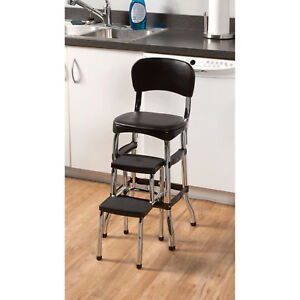 Black Retro Chrome Pull Out Step Stool W Chair Kitchen Bar Counter Garage Home