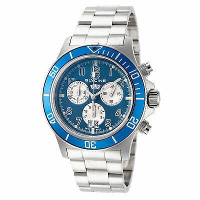 Glycine GL1004 Men's Combat Sub Quartz 42mm Chronograph Blue Dial Watch