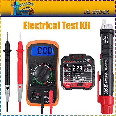 Electrical Test Kit Non Contact Voltage Tester Pen Lcd Digital Multimeter Kit