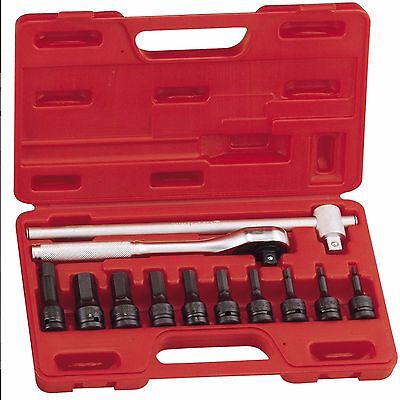 "New 12 Pcs 1//2/"" Dr Six-Point Metric Hand Socket Set GS-412M with Socket Holder"