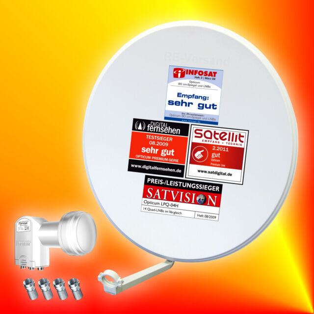 Opticum digitale 80cm Sat-Antenne+Opticum Quad-LNB Satellitenantenne 4Teilnehmer