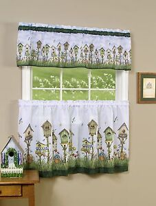HOME SWEET HOME - KITCHEN CURTAIN  Tier & Valance Set / Birdhouse & Flowers