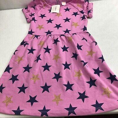 Gymboree Girls Star Sprinkled Pink Short Sleeve Dress Sz 10 New