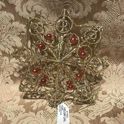 Macys Holiday Lane  GOLD GLITTER STAR W/ RED BEADS 3D CHRISTMAS ORNAMENT  NWT Glitter Star Christmas Ornament