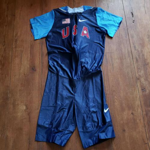 Nike Mens X-Large Speedsuit Track Field USTF USA Pro Blue Red Skinsuit Singlet