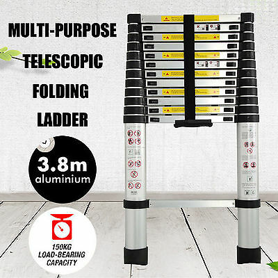 3.8m New Multi-Purpose Aluminium Telescopic Ladder Extension Extendable Steps
