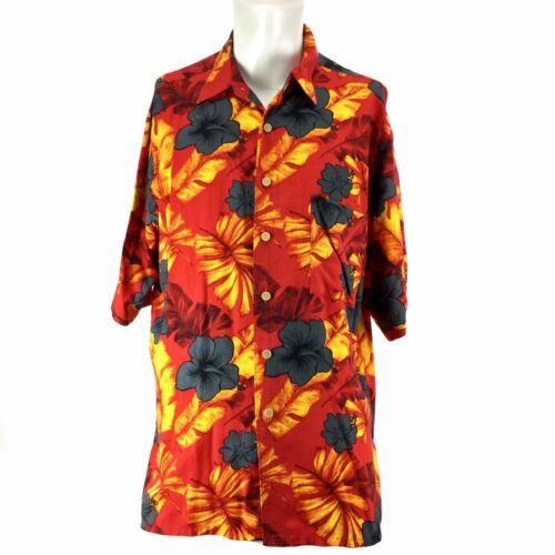 Hana Bay Island Tropics Red Hawaiian Aloha Shirt Mens Large Rayon