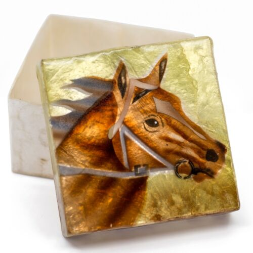 """Hand Painted Air Brushed Horse Capiz Oyster Shell Jewelry Trinket Box 3"""" New!"""