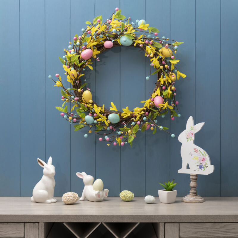 Glitzhome Happy Easter Colorful Eggs Wreath Garland Spring Wall Hanging Decor