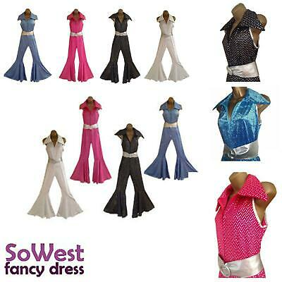 60 70 80 Costumes (60s 70s 80s Fancy Dress Jumpsuit + Belt Costume Outfit for Retro Disco Hen)