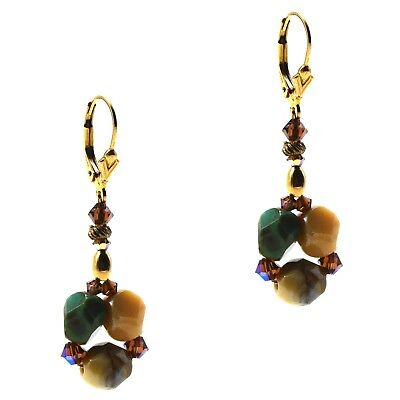 14K Gold Filled Beaded Green Glass Stone Earrings With Crustal Accents Leverback