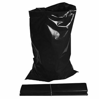 100 x EXTRA HEAVY DUTY BLACK RUBBLE BAGS/SACKS BUILDERS 30kg VERY STRONG