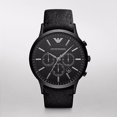 NEW Armani Black Leather Quartz Analog Men's Watch AR2461