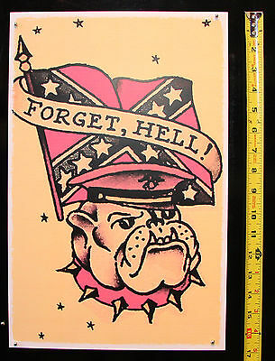 - Confederate Army Bulldog USMC vintage Sailor Jerry tattoo style Flash print USA