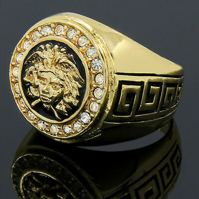 Men's Vintage Greek Goddess Medusa Ring 18k Gold filled Retro Silver Size N-Z+1