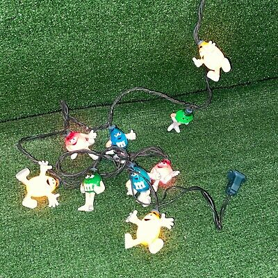 Vintage 1999 M&M's Chocolate Candy Characters Happy Christmas Lights - 10ct