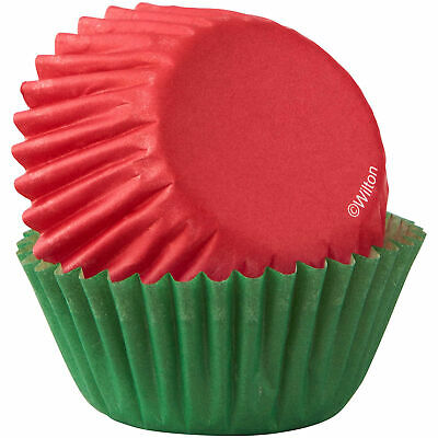 Wilton Red & Green Mini Cupcake Baking Cup Liners, 100 Count | Christmas Holiday