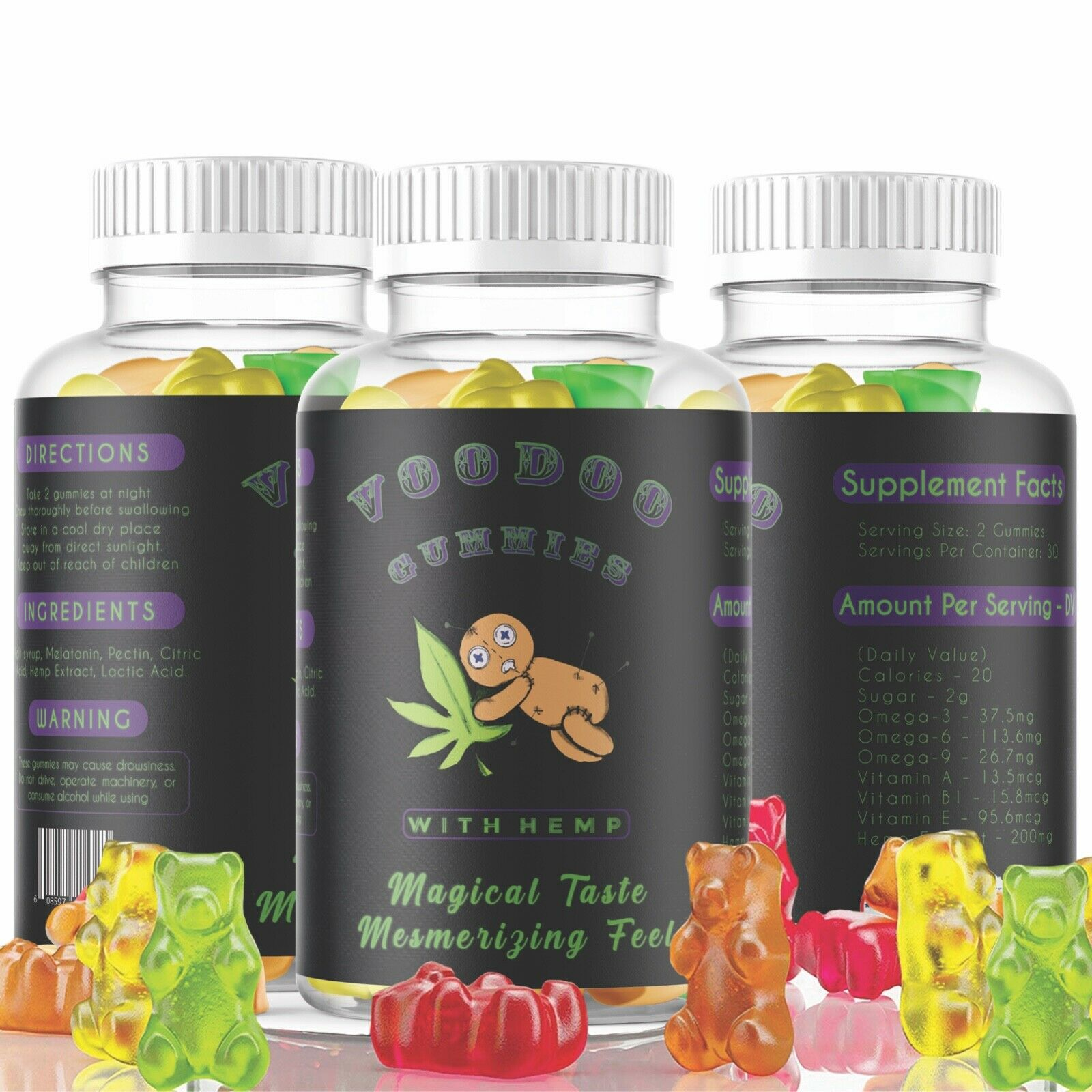 Premium Natural HempOil Gummies 6000mg For Stress Relaxation Pain Anxiety