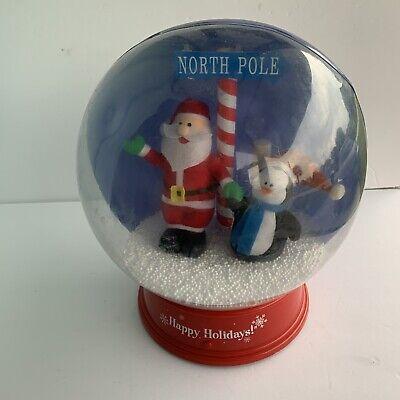 """Gemmy 12"""" Snow Globe Santa & Penguin Table Top Christmas Animated"""