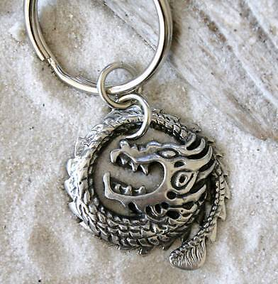 CHINESE CIRCLE DRAGON SERPENT Pewter KEYCHAIN Key Ring