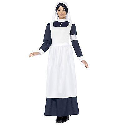 Krieg Kostüm (Damen Großer Krieg Krankenschwester Kostüm Kleid & Kopfschmuck Kriegszeit)