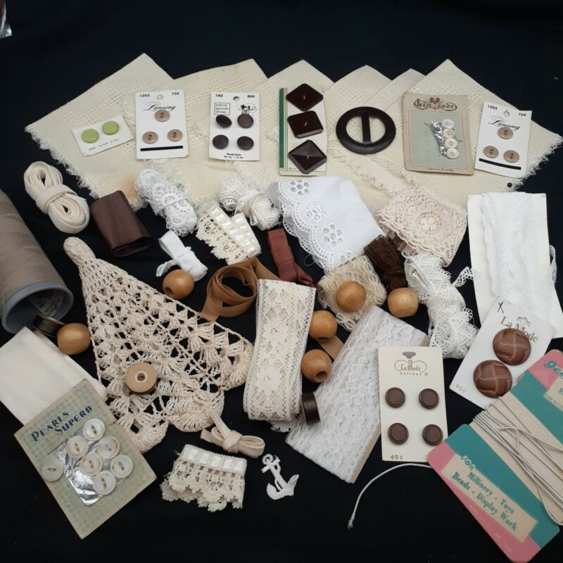Lace off white craft lot collage junk journal button art sewing thread notions