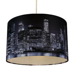 New Lamp Shades: 32cm Lamp Shade Ceiling Light Digital Printed Fabric New York Skyline At  Night,Lighting