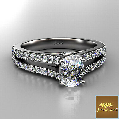 Cushion Cut Diamond Split Shank Engagement Ring GIA F VVS2 18k White Gold 1.15Ct 1