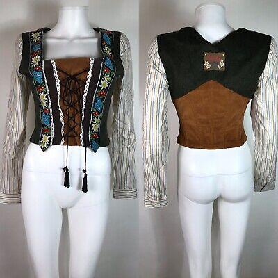Rare Vtg Dolce & Gabbana Brown Lace Up Corset Top M