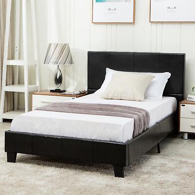 Twin Size Metal Bed Frame Platform Faux Leather Upholstered Headboard Furniture
