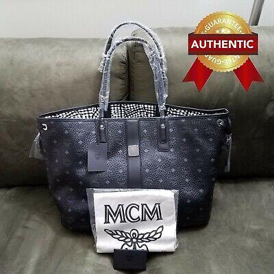 NEW Authentic MCM Large Reversible Liz Shopper tote bag -