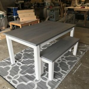 • • Farmhouse Dining Table & Bench • •