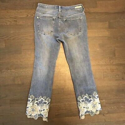 Pilcro And The Letterpress High-Rise Bootcut Stretch Denim Jeans Floral Size 26 High Rise Bootcut Jeans