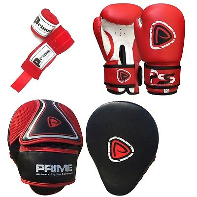 Kids boxing gloves punch bag junior mitts & focus pads hand wraps training set 5 (Boxing Training Bag)