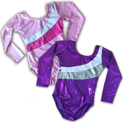 Mädchen Kinder Langärmeliger Body Kostüm für Gymnastik Tanz Ballett - Gymnastik Rhythmische Kostüm