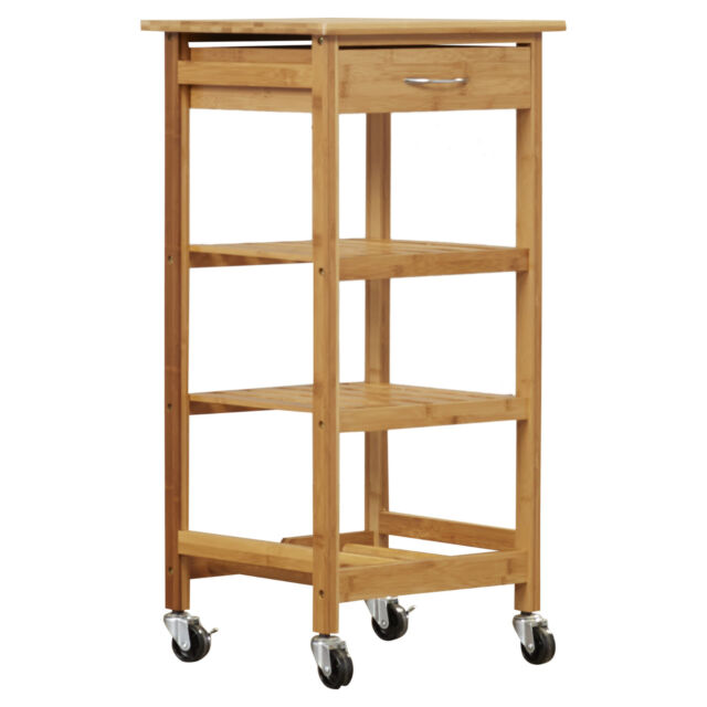 Kitchen Utility Cart Rolling Drawer Shelves Wood Storage Microwave