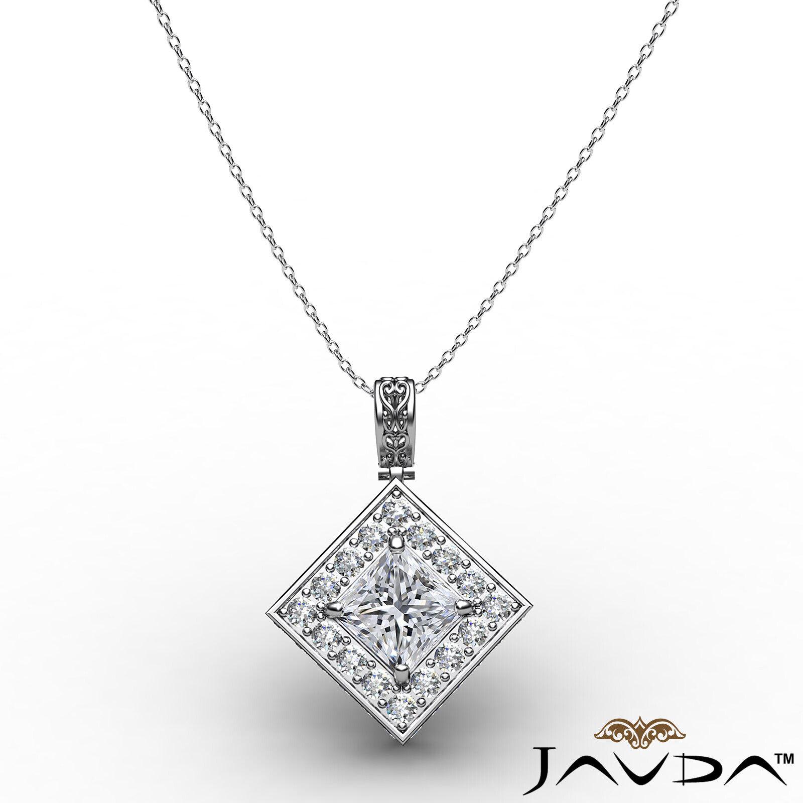 Kite Style Halo Princess 100% Natural Diamond Filigree Pendant Necklace 1.17ctw. 2