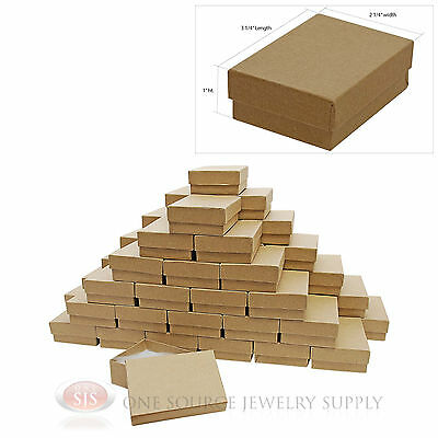 "50 Brown Kraft Cotton Filled Jewelry Gift Boxes 3 1/4"" X 2 1/4"" Bracelet Box"