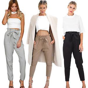 Moderno-Mujer-Pantalones-Estilo-Arabe-elastico-cintura-alta-Informal-Holgado-OL