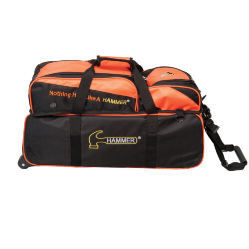 Hammer 3 Ball Roller Tote Black/Orange Bowling Bag With Shoe Pouch