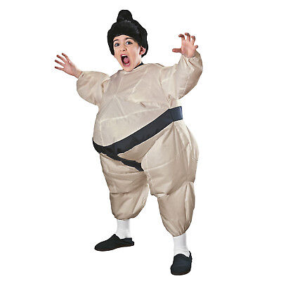 Child Inflatable Japanese Sumo Wrestler Fat Suit Kids Costume Jumpsuit  - Child Sumo Wrestler Costume