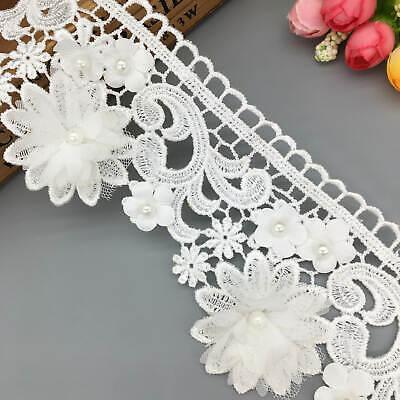 1yd Flower Pearl Lace Trim Wedding Ribbon Embroidered Applique Sewing DIY Craft Pearl Trim