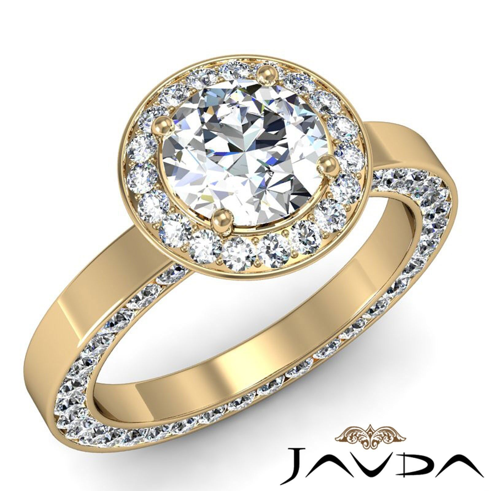 Channel Pave Set Filigree Round Diamond Engagement Gold Ring GIA F VS1 2.83 Ct