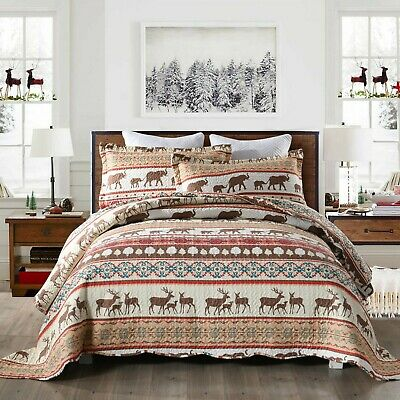 3Pc Quilt Bedspread Sets Bedding Coverlet Bedroom Floral Queen King Size, BY008
