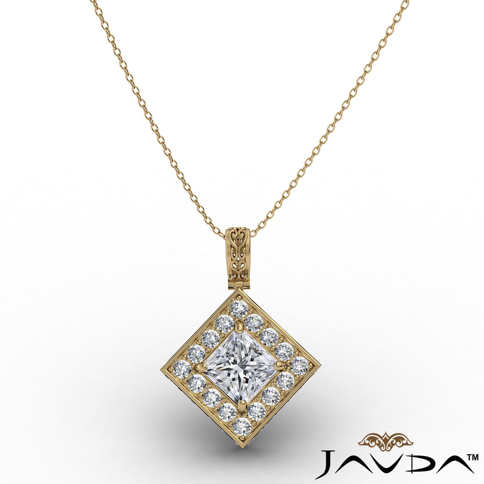 Kite Style Halo Princess 100% Natural Diamond Filigree Pendant Necklace 1.17ctw. 3