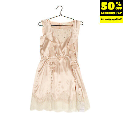 MISS GRANT Satin A-Line Dress Size 36 / 9Y Floral Lace Ruffle Rhinestones Beads