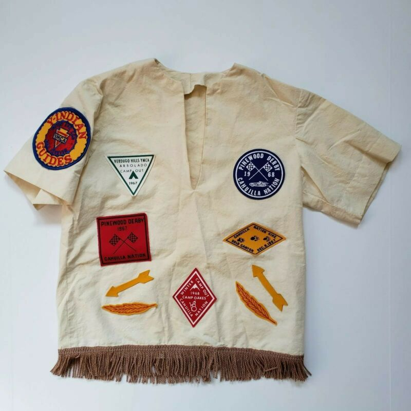 60s Vintage YMCA Y-Indian Guide Shirt Fringe Patches Pinewood Derby Cahuilla Pal