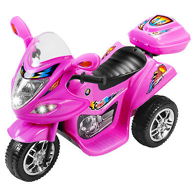 Kids Ride On Motorcycle Toy Battery Powered Electric 3 Wheel Bicycle Pink 6V